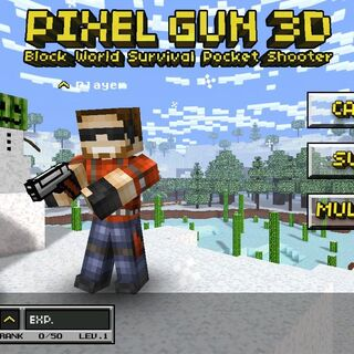 The Pixel Gun wielded in the old main menu.