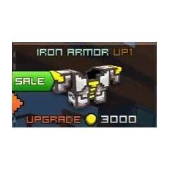 Iron Armor Up1: 3400 coins, 96 shields, high defense.