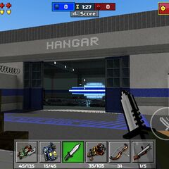 The blue area/Hangar base.
