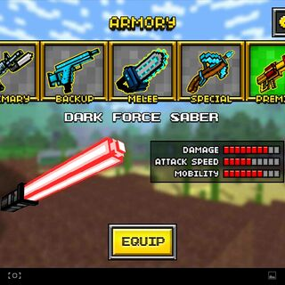 The original, first form of the current Dark Force Saber. It had a black metal hilt with a large, glowing rod of energy protruding out. It was replaced by the current Dark Force Saber in the 8.1.0 update. The hilt appeared to have buttons on it that may activate the weapon although it is never drawn out while not active.