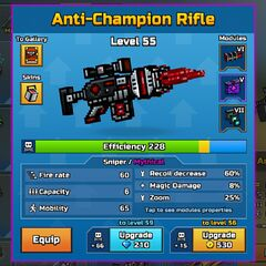 The Anti-Champion Rifle in the Armory.
