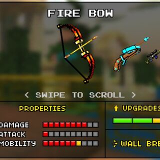 The Fire Bow, which was the upgrade of the Simple Bow (now the Hunger Bow). It was removed in the 8.0.0 update, making both the Hunger Bow and the Magic Bow individual weapons. It is a red recurve bow, with the red turning into orange as it gets closer to the middle. The arrow that is loaded seems to be on fire.