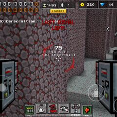 A first-person view of a Battle Mech, note the health icon is now replaced with gears.