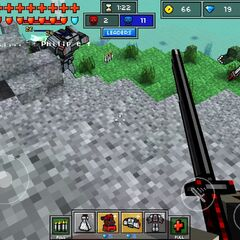 A player in the top left corner using a mech to kill a player.