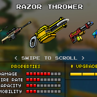 The original form of the Razor Thrower. It was replaced by the current Razor Thrower in the 8.3.0 update. It appeared as a regular and yellow razor thrower.