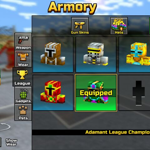 The former Skins section in the Leagues section of the Armory, containing exclusive skins.