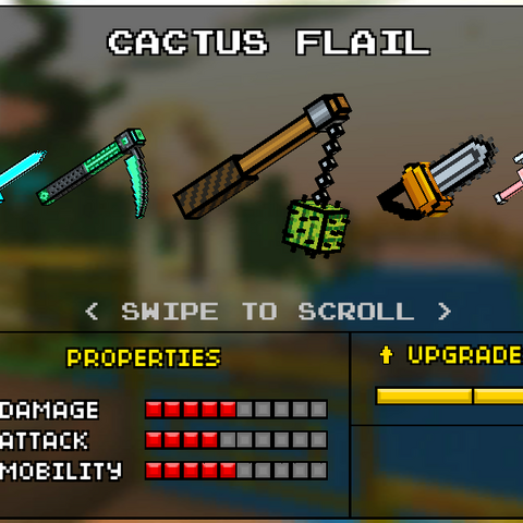The Cactus Flail, which was the original base version of the Lava Flail. It was replaced by the current Flail in the 8.2.1 update. It had a wooden stick, with a black chain coming out of it. A small cactus was attached to the chain. The bottom of the stick had a darker kind of wood. The chain was linked to a metal ring.