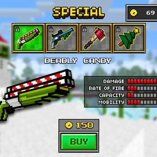 The Deadly Candy, which was the original base version of the current Steam Power. It was replaced by the current Steam Power in the 8.0.0 update. It had a triple-barrel setup, with a candy cane pattern on each barrel. The base and handle are lime green. A small patch of white can be seen under the base. When you reload, the gun opens in half and you put three sorts of candies as ammo in the gun.
