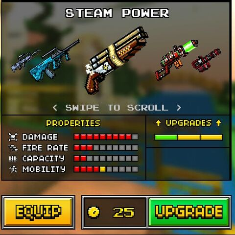 The original Steam Power, which was the upgrade of the Deadly Candy and a downgrade of the current Steam Power. It was replaced by the current Steam Power in the 8.0.0 update. It was identical to the Deadly Candy except the colors are gold, silver or bronze. It has a triple barrel setup.