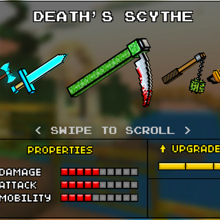 * The Death Scythe, which was the original base version of the Death Scythe. It was replaced by the current Scythe in the 9.0.0 update. It appeared like a regular scythe, however the base is colored green and the blade tip has blood on it.