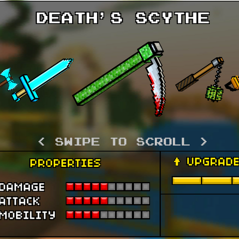 The Death Scythe, which was the original base version of the Death Scythe. It was replaced by the current Scythe in the 9.0.0 update. It appeared like a regular scythe, however the base is colored green and the blade tip has blood on it.
