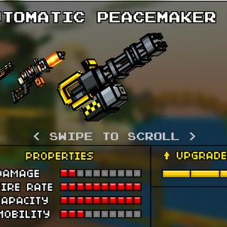 The Automatic Peacemaker M1, which was the original base version of the Automatic Peacemaker. It was replaced by the current Automatic Peacemaker in the 8.1.0 update. It was mostly gray, with a quad barrel setup. Some yellow can be found in the back. While firing, the barrels spin in a clockwise fashion.
