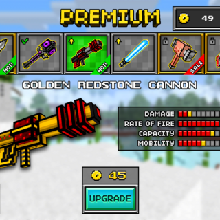 The Golden Laser Cannon, which was the upgrade of the Laser Cannon and a downgrade of the current Crystal Laser Cannon. It was replaced by the current Crystal Laser Cannon. It had a golden base, with a golden shoulder stock. Red dots lead up to a large red clip. It's barrel is equipped with three red rings and it.