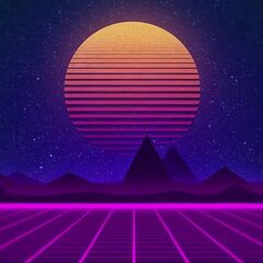 The typical sunrise (and neon landscape and neon pink grids) in most retrowave/synthwave backgrounds.