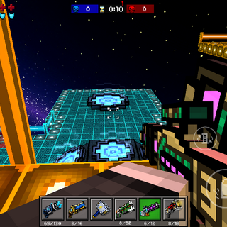 Player between two laser elements, and seeing multiple jump pads.