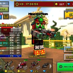 A player holding it in the menu.