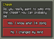 Chasm Jump Confirmation Window
