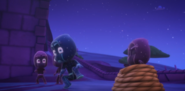 Teeny Weeny Ninjalino sneezes, which makes Night Ninja jump