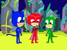 The PJ Masks and the baby runic fox in the Runic Retreat