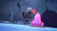 Motsuki zaps the crystal