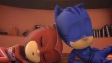 Owlette and Catboy still asleep
