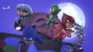 The PJ Masks, Luna Girl, moths, and Mothzuki do their victory pose