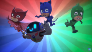 The PJ Masks victory pose in Romeo's Disguise.