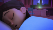 Amaya sleeping while the crystals start glowing