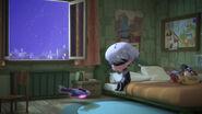 Luna Girl sits on Greg's bed
