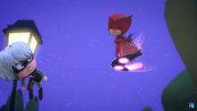 Fake Owlette, aka Romeo, takes the Luna Board and Luna Magnet.