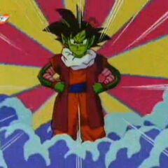 Goku wyobraża sobie jak wyglądałoby scalenie za pomocą Kolczyków Potara z Dende.