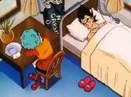 Bulma zasnęła podczas czuwania nad wracającym do zdrowia Vegetą