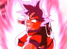 Son Gokū stosuje Kaiō-ken w pierwszym starciu z Vegetą