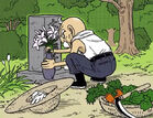 Ōmori (3) Zmienia kwiaty na grobie żony (Vomic, odcinek 1)