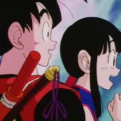 Gokū i Chichi nieopodal <a href=