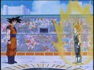 Początek starcia Goku i Vegety