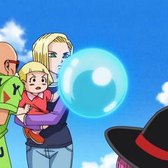 Muten Rōshi, Uranai Baba oraz #18 z Marron oglądający przebieg walki.