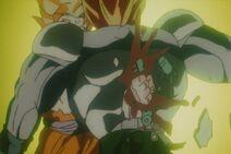 Gokū pochłonąwszy Genki-Damę niszczy Super Trzynastkę (DBZ, film 7)