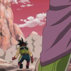 Bardock, martwy Tōbi i umierający Kyabira