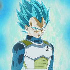Niebieska aura stadium Super Saiyanin Blue na przykładzie Vegety