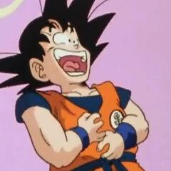 Gokū udający śmiech po usłyszeniu żartu <a href=