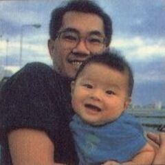 Toriyama z synem (notka w jedenastym tomie DB)