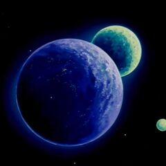 Kanassa i jej księżyc oraz dwa inne ciała niebieskie