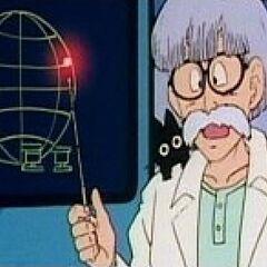 Profesor przedstawia miejsce uszkodzenia statku kosmicznego Gokũ