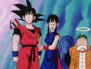 Goku Chichi i stary Gohan niedaleko paleniska