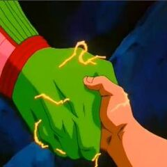 Wymienia uścisk dłoni z małym Gokū w Dragon Ball GT