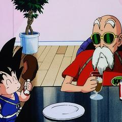 Goku u Żółwiego Pustelnika.
