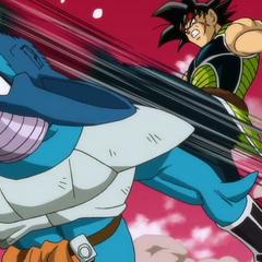 Tōbi przyjmuje mocne kopnięcie na głowę po czym umiera, rozbijając się o skały