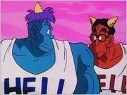 Goz i Mez podczas pierwszej wizyty Goku w Piekle