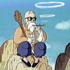 Muten Roshi paląc fajkę podziwia poczynania Gokū i Kulilina podczas treningu <a href=